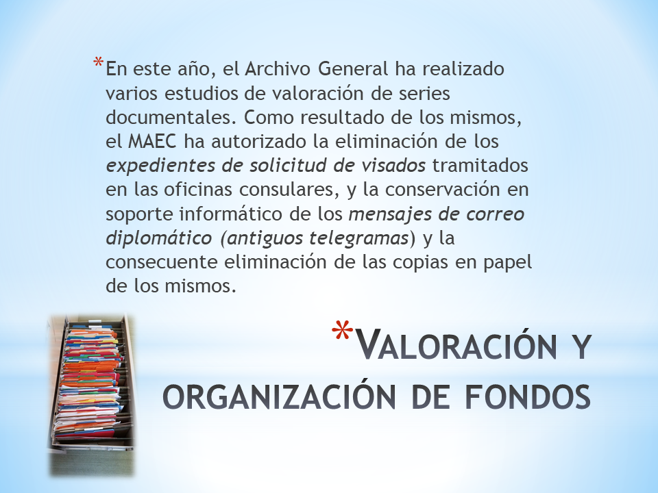 Valoración y organización de fondos