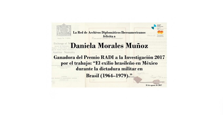 Ganadora del Premio RADI a la Investigación 2017